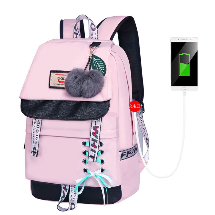 Fresh Shoelace Style Student Backpack Bandage Bow Waterproof Junior High School Backpack