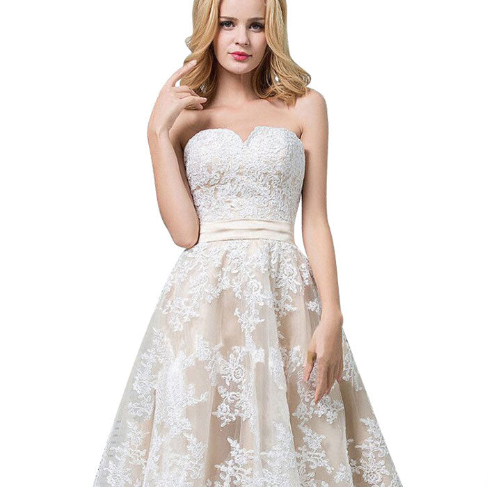 Leisure Lace Sleeveless Wrap Chest Bridesmaid Leave Flower Dress Prom Dress