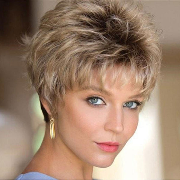 New Black Gradient Light Golden Diagonal Bangs Short Hair Girl Lace Hair Wigs