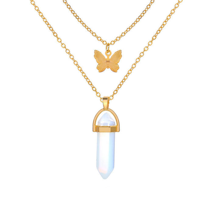 Leisure Crystal Stone Butterfly Pendant Double Layer Women's Necklace