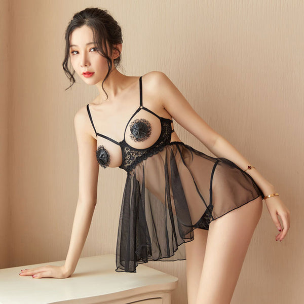 Sexy Steel Gathered Mesh Nightdress Passion Pajamas Open Chest Underwear Intimate Lingerie