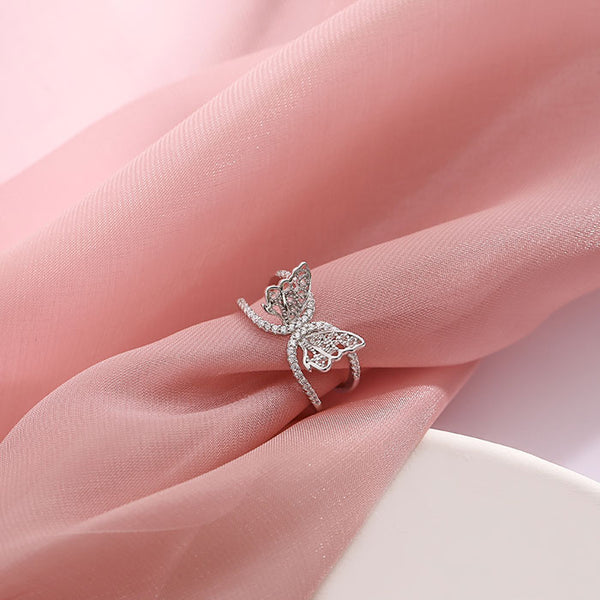 Fresh Double Layer Butterfly Hollow Diamond Open Silver Women Ring