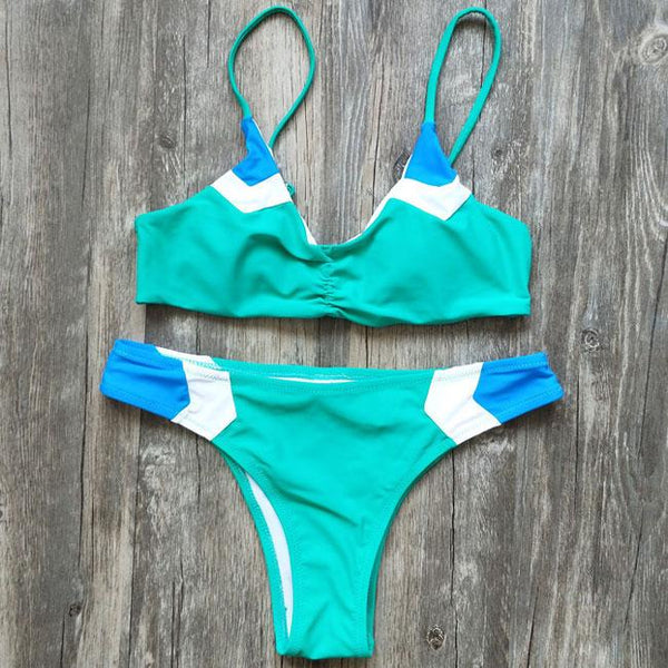 Sexy Contrast Color Fold V-neck Bikini Summer Women's Swimsuit For Big Sale!- Fowish.com