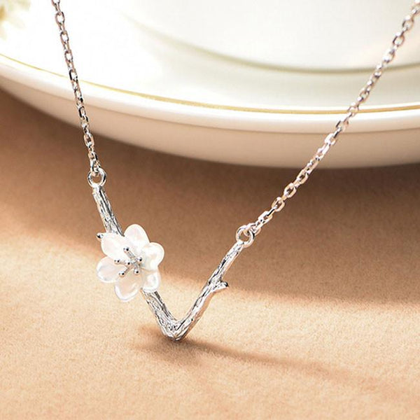 Unique V shape Imitating Branch Lines Clavicle Chain Shell Cherry Flower Pendant  Necklace For Big Sale!- Fowish.com
