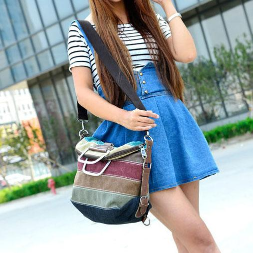 Retro Rainbow Splicing Colorful Striped Canvas Backpack School Shoulder Bag Handbag Multifunctional Backpacks For Big Sale!- Fowish.com