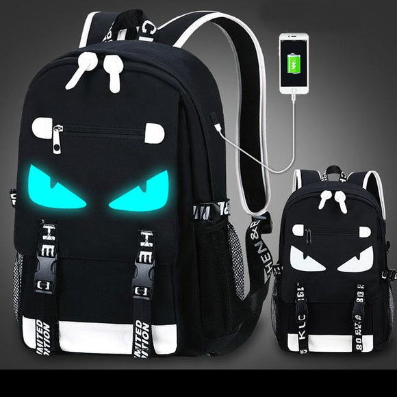 84a236893 Cool Waterproof Oxford Cloth Luminous Cartoon Printing School Backpack USB  Interface Fluorescence Travel Backpack For Big