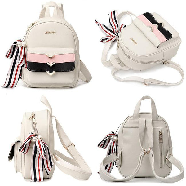 Cute Street Style Small School Backpack PU Colorful Stripes Flap Decorative Backpack For Big Sale!- Fowish.com