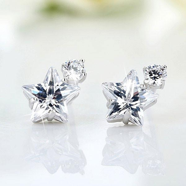 Unique Crystal Diamond-bordered  Silver Women Eardrop Star Earring Studs For Big Sale!- Fowish.com