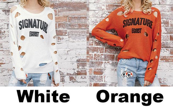 Irregular Ripped Letter Printing Sweater For Big Sale!- Fowish.com