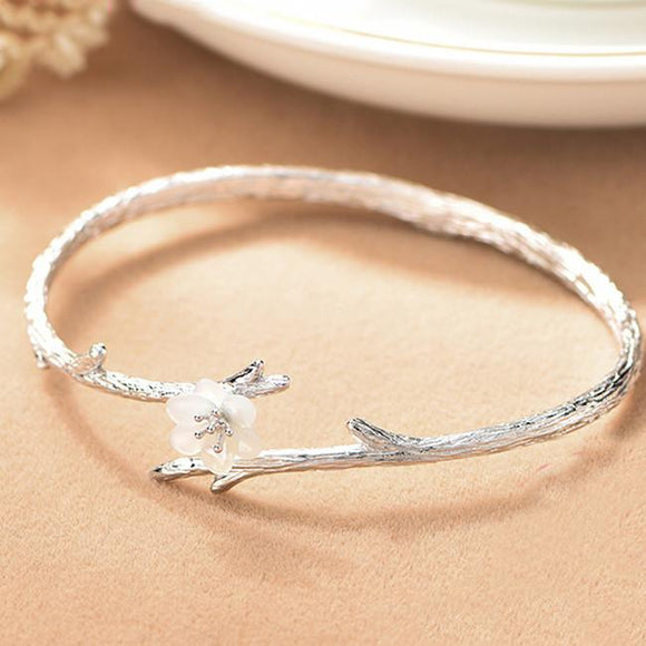 Handmade Cherry Imitating Branch Lines Circular Ring Shell Silver Flower Open Bracelet For Big Sale!- Fowish.com