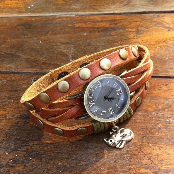 Original Wrapped Twice Cat Leather Bracelet Watch - lilyby