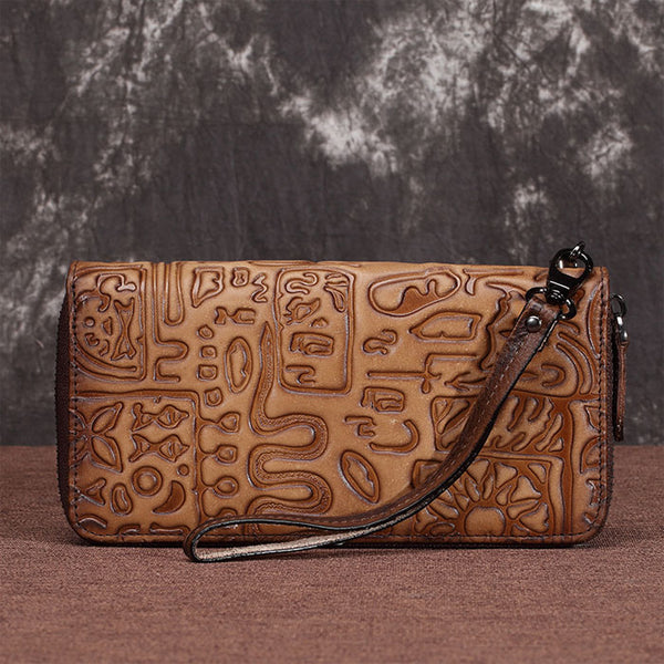 Retro Phone Cowhide Purse Large Ancient Characters Clutch Bag Oracle Plum Long Wallet