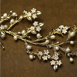 Fresh Tree Branch Leaves Pearl Wedding Hair Band Bridal Hair Accessories