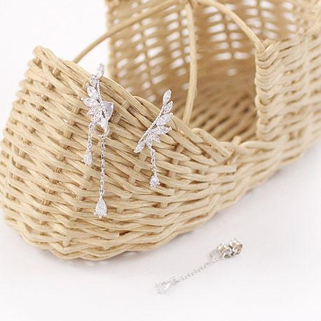 Cute Crystal Angel Wing Pendant Silver Dangle Drop Earrings Studs For Big Sale!- Fowish.com