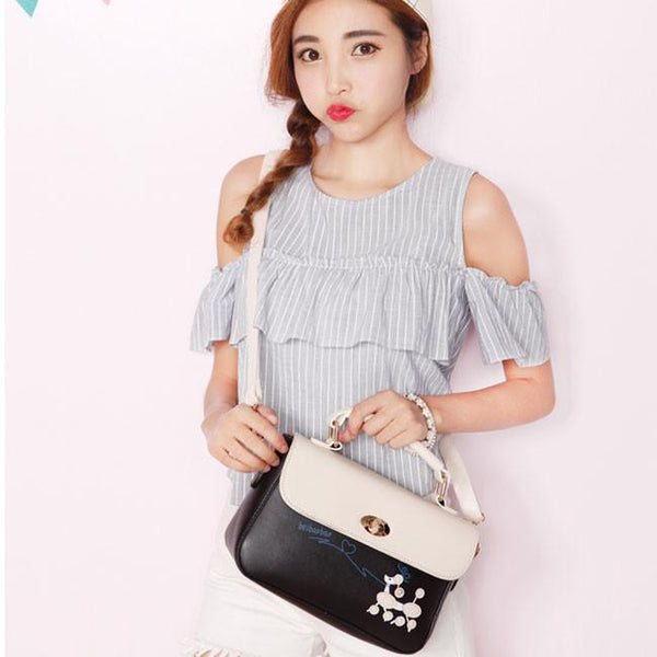 New Contrast Color  Puppy Cartoon Girl PU Shoulder Bag For Big Sale!- Fowish.com