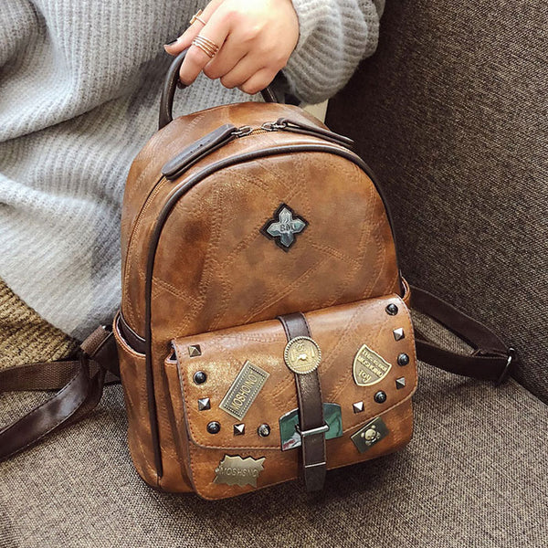 Retro Badge Rivet Single Buckle School PU Backpack British Style Student Bag Backpack