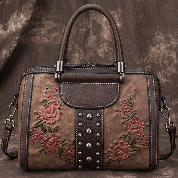 Retro Leaves Rivet Original 3D Flower Handbag Original Shoulder Bag