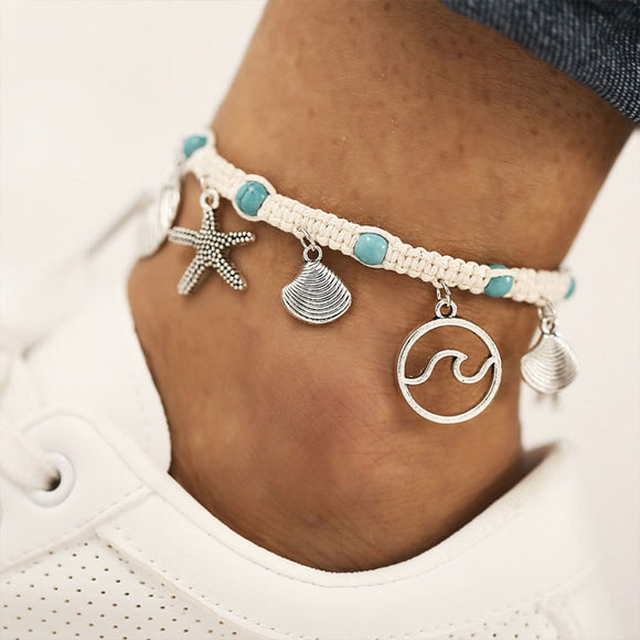 Vintage Beach Foot Accessories Rope Starfish Wave Pattern Shell Pendant Anklet