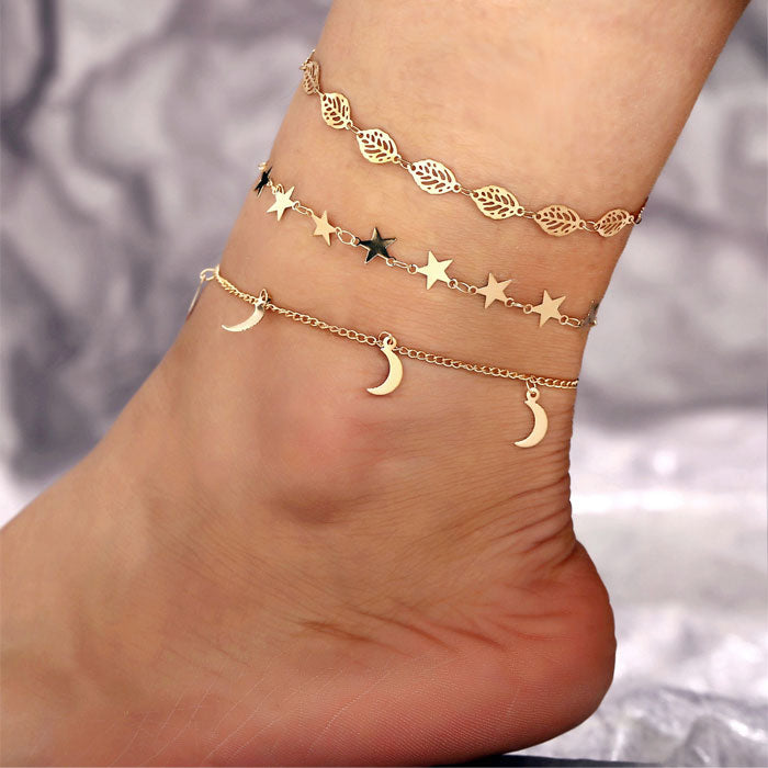 Retro Hollow Leaf Anklet Set 3-piece Set Simple Star Moon Foot Accessory Anklet