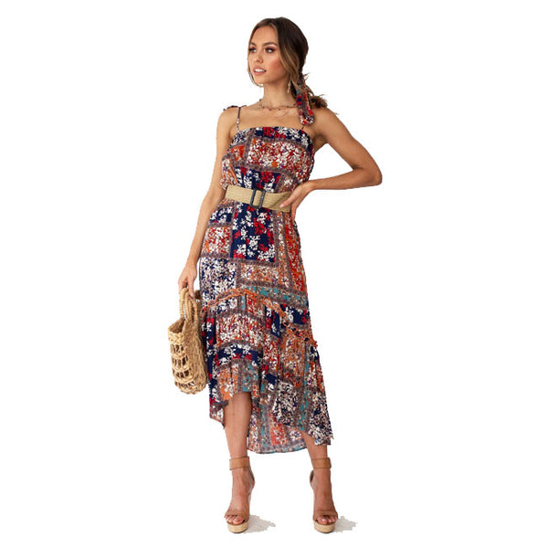 Fashion Bohemia Flower Halter Strap Beach Holiday Long Summer Dress