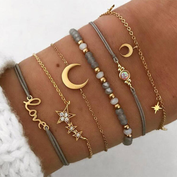 Leisure Star Moon Love Beads Six-piece Anklet Women Bracelet
