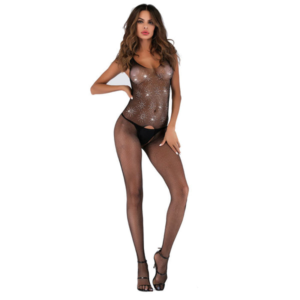 Sexy Open Gear Conjoined Fishnet Stockings Flash Diamond Sequins Female Lingerie