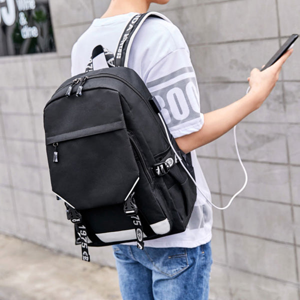 Fashion Large Capacity Outdoor Black Oxford Double Buckle Middle School Students Backpack