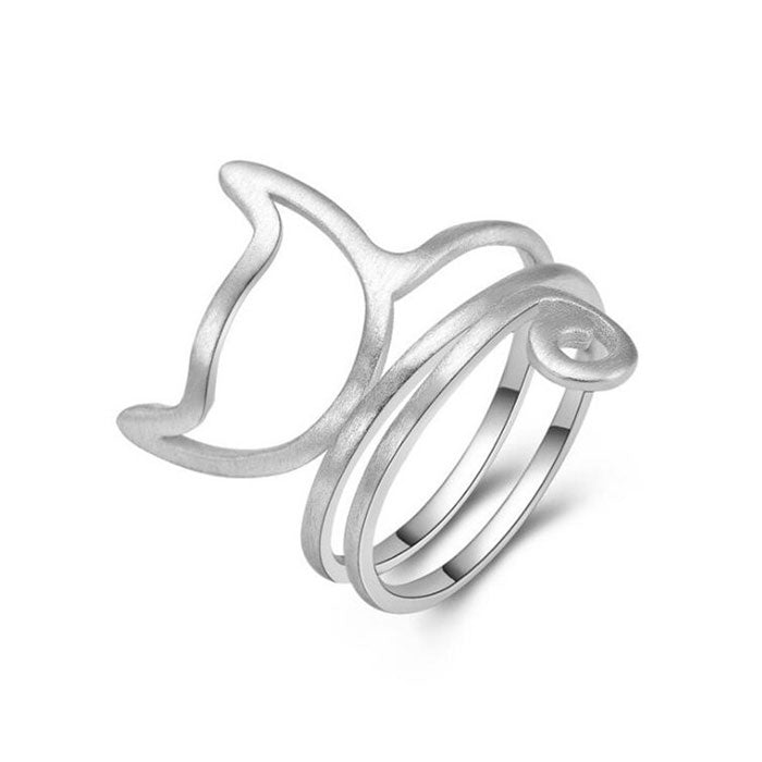 Cute 3 Layer Brushed Kitty Silver Cat Twine Women's Open Ring