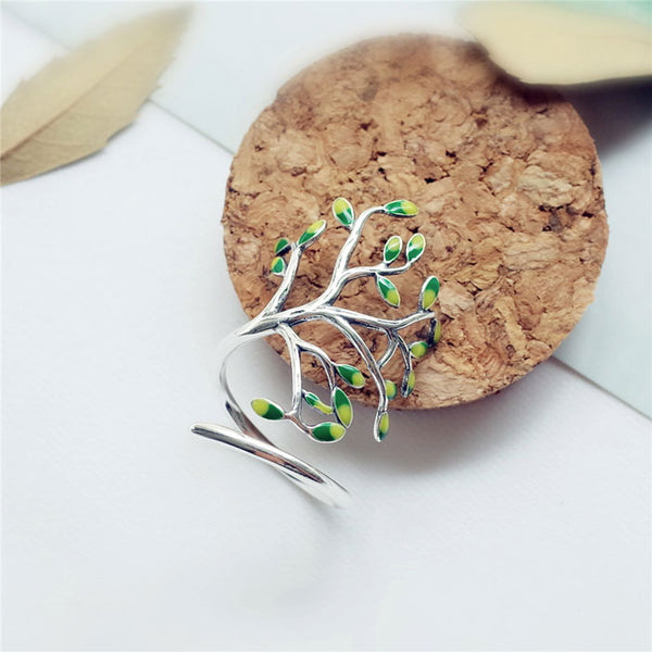 Retro Tree Forest Leave Glaze Branch Handmade Silver Open Ring