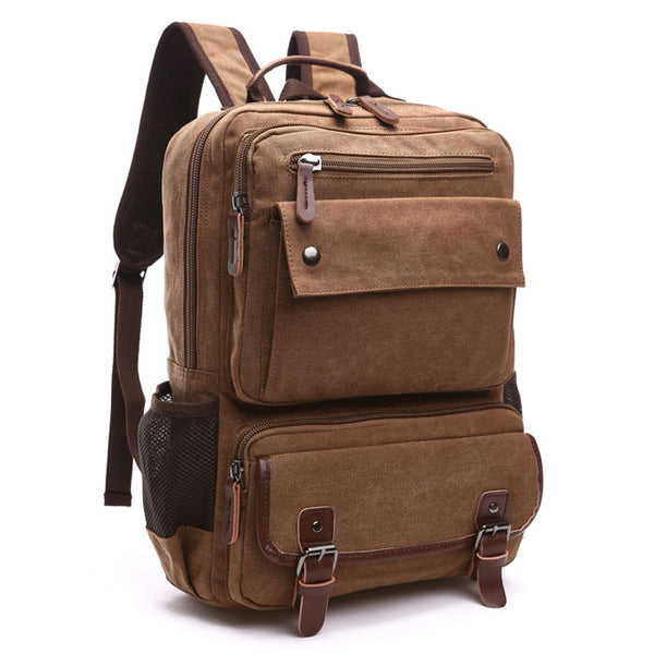 Retro Multi Pockets Laptop Rucksack Double Buckle Large Travel Outdoor Bag School Backpacks