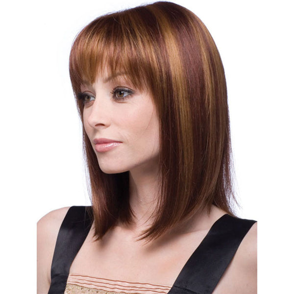 New Middle-Long Straight Hair Bangs Women's Lace Hair Wig