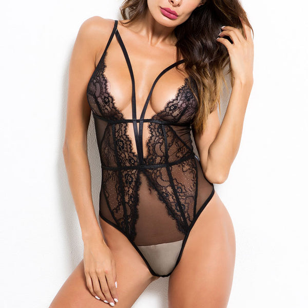 Sexy Deep V One-piece Underwear Lace Hollow Splice Conjoined Women's Lingerie
