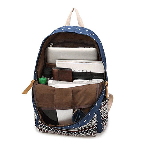 Fresh Totem Trunk Large Striped Canvas Backpack  Folk Student School Bag For Big Sale!- Fowish.com