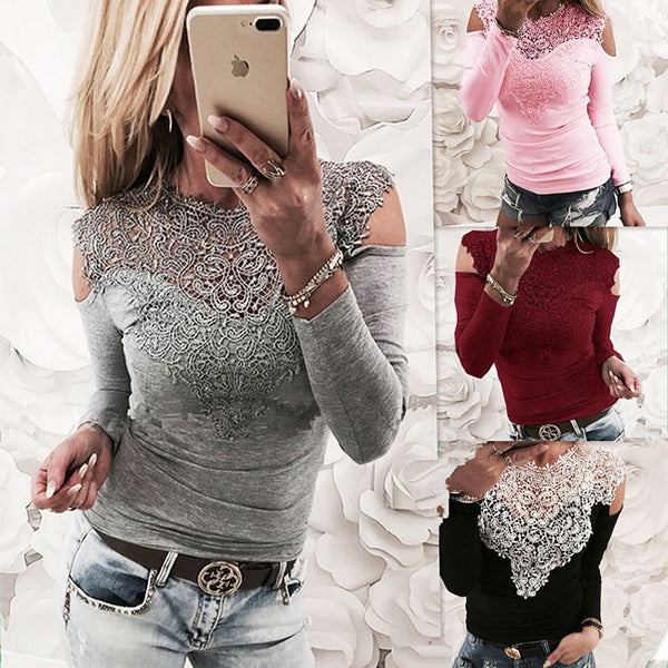 Sexy Long Sleeve Women's Flower T-shirt Splice  Off Shoulder Lace Tops