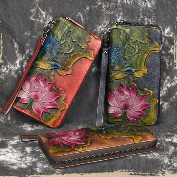 Retro Lotus Leaf Bird Embossed Wallet Original Lotus Flower Vintage Clutch Bag