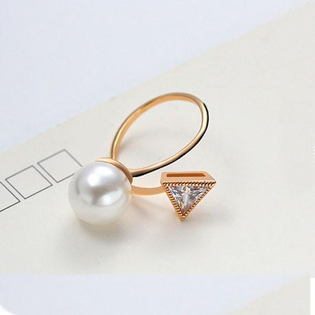 Pearl Crystal Triangular Diamond-bordered Open Ring For Big Sale!- Fowish.com