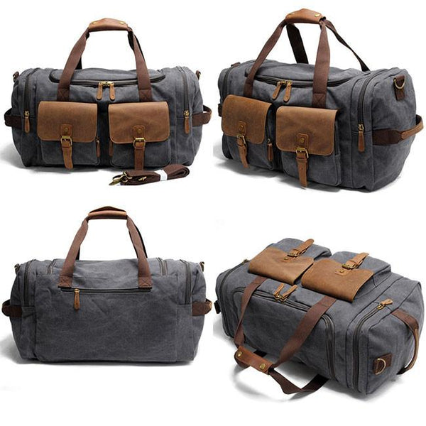 Retro Sports Handbag Large Capacity Travel Laptop Thick Canvas Shoulder Bag  Real Leather Multi-Pockets Luggage Bag   For Big Sale!- Fowish.com