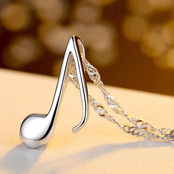 Fashion Music Note Shape Pendant Silver Clavicle Chain Women Necklace For Big Sale!- Fowish.com