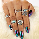 Retro Alloy Blue Pine Shell 5 Sets Leaves Bohemia Accessories Ring For Big Sale!- Fowish.com