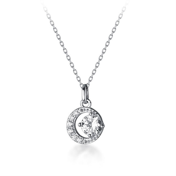 Fashion Crescent Moon Diamond Crystal Unique Silver Necklace
