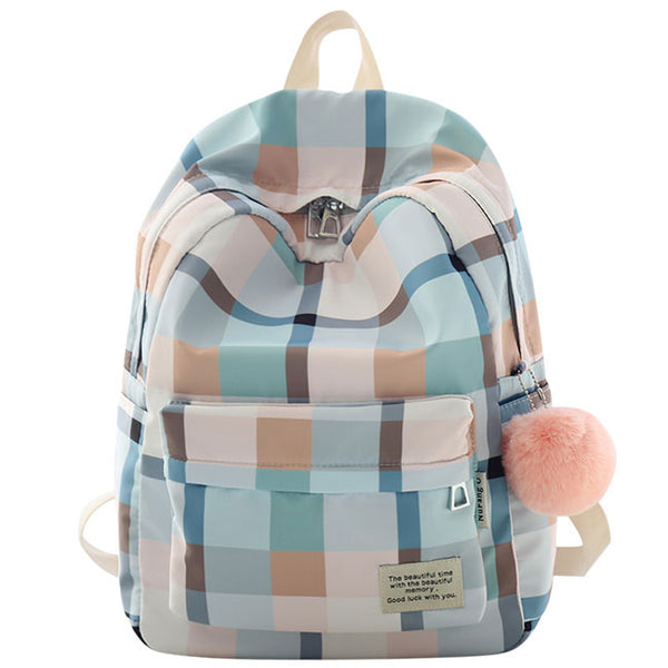 Fresh Grid Large College  Lattice School Bag Canvas Backpack