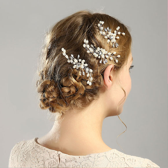 Elegant Leaves Flower Pearl Branch Headband Wedding Hair Accessories Hair Clips