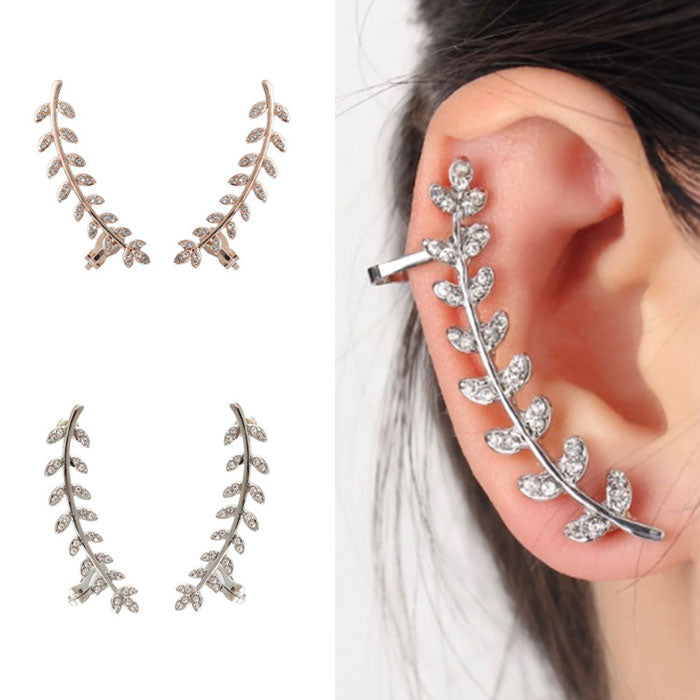 Fresh Leaves Branches Rhinestone Ear Clips
