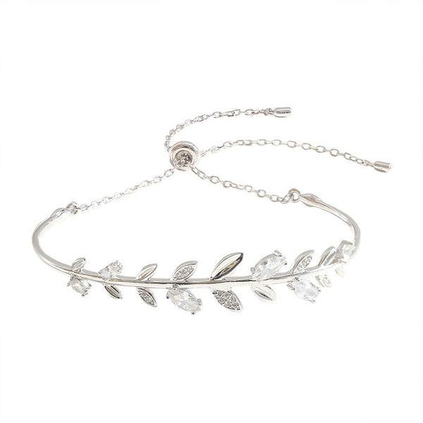 Cute Leaves Bangle Silver Romantic Crystal Diamond Branch Women Bracelet