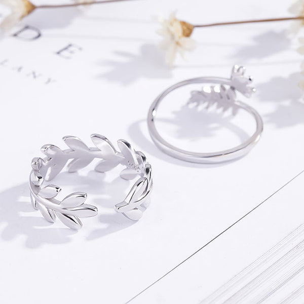 Unique Sweet Silver Leaves Branch Feather Flower Opening Couple Rings
