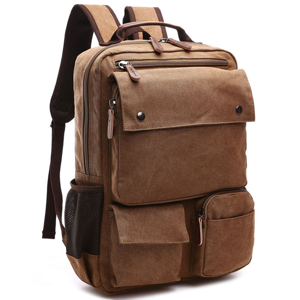 Retro Multi Pockets Outdoor Rucksack Men's Backpack Student Laptop Travel Backpack