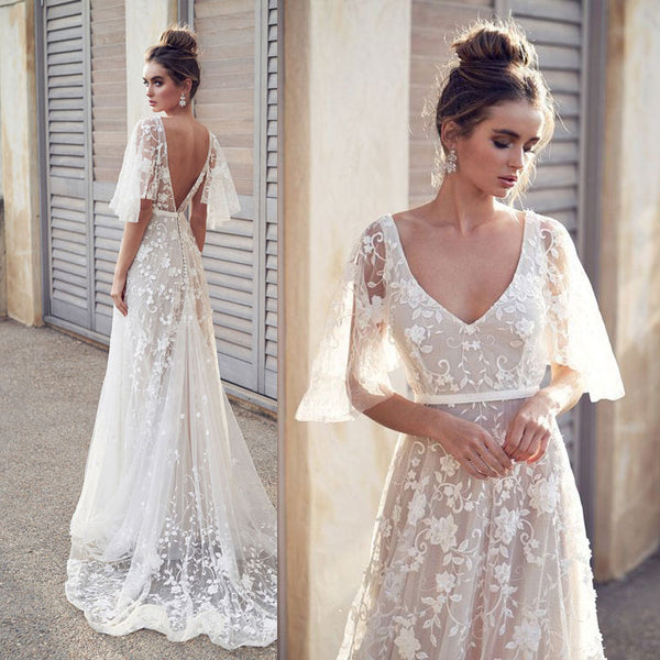 Fresh Sexy Bat Sleeve Lace V-neck Long Flower Dress Middle Sleeve Summer Dress