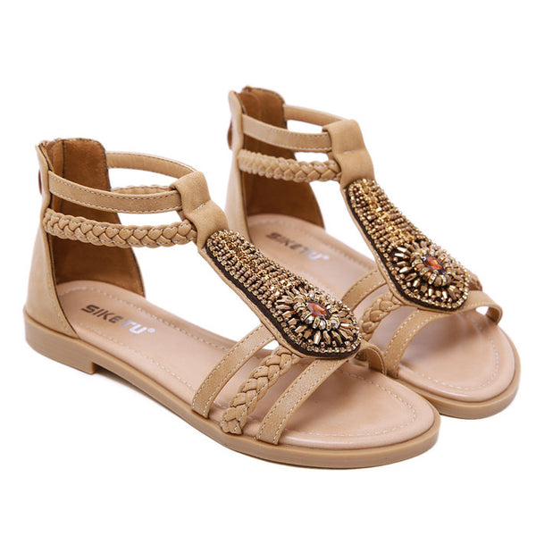 Fashion Bohemia Beaded Zipper Rhinestone Summer Flats Women's Shoes Roman Sandals