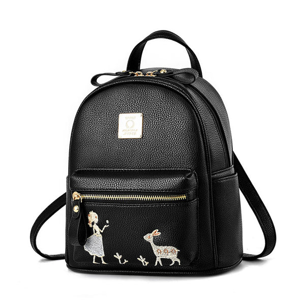 Fresh Embroidery Angel Girl Deer Cartoon Small PU School Bag Student Backpack