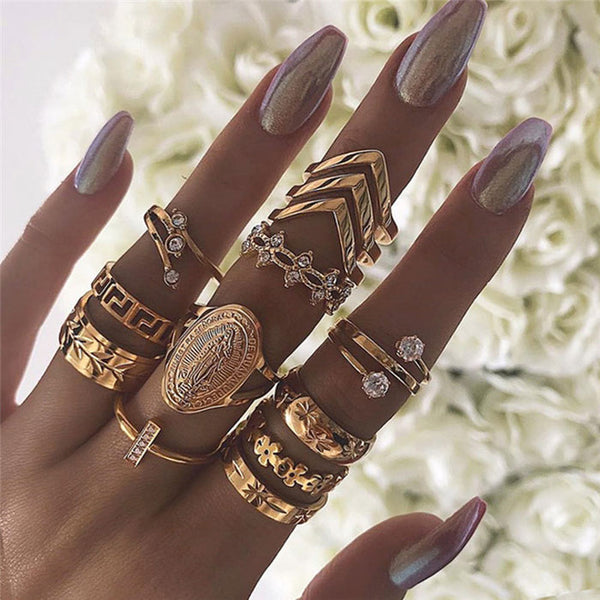 Vintage Golden Badge Diamond Multilayer 13 Piece Set Combination Female Rings